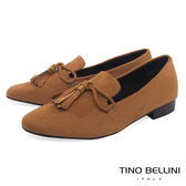 Tino Bellini 率性線條造型流蘇樂福鞋_ 棕  A79046 網路限定款