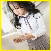 航海線兒童襯衫女童立領長袖白色中大童韓版新款學院風薄款襯身潮