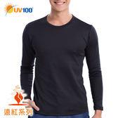 UV100 防曬 抗UV 遠紅-蓄熱保暖圓領上衣-男