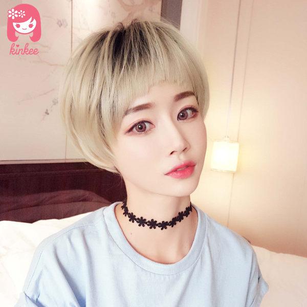 *╮Kinkee假髮╭*韓系高仿真 蓬鬆 俏皮 狗啃式瀏海 自由分線 短髮 假髮【C3061-2】