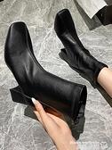 高跟短靴 馬丁靴女春秋單靴英倫風高跟鞋秋冬季瘦瘦靴子粗跟軟皮方頭短靴秋 曼慕