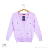 【INI】品味穿著、繡花色調百搭針織小外套.紫色