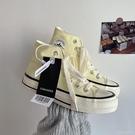 2021春季新款鵝黃色1970s百搭高幫帆布鞋女港味街拍鞋子女ins 蘿莉新品