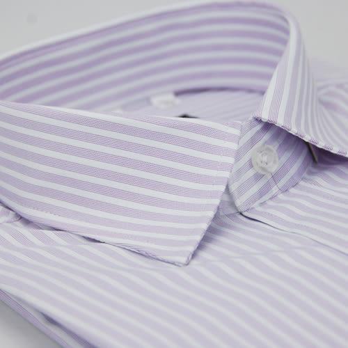 【金‧安德森】紫色寬排紋窄版長袖襯衫