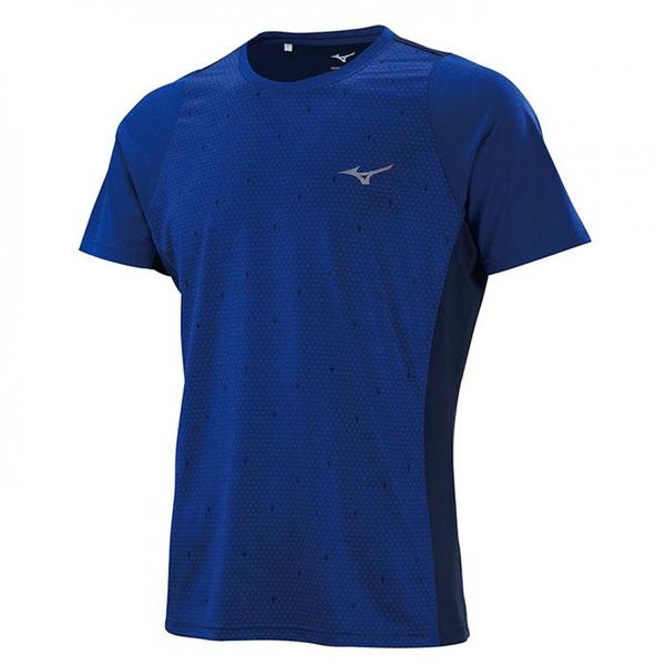 MIZUNO Slim FIT 男裝 短袖 慢跑 運動 吸汗 快乾 合身 休閒 午夜藍【運動世界】K2TA150115