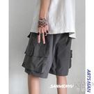 夏季直筒薄款學生工裝短褲男休閒褲寬鬆多口袋五分褲 快速出貨