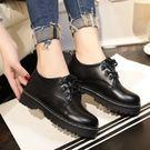 紳士鞋女秋冬季女單鞋百搭繫帶中跟厚底棉鞋英倫皮鞋學生休閒鞋 貝芙莉女鞋