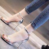 涼鞋 涼鞋女仙女風夏季新款透明寬帶一字扣細跟設計高跟鞋夜場