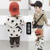 風衣 男童外套潮韓版兒童休閒連帽上衣寶寶波點兩面穿風衣 伊鞋本鋪