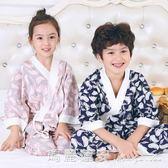 男童女童純棉睡衣套裝中大兒童家居服小孩寶寶親子中長袖和服春夏 瑪麗蓮安