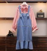 上衣長袖連身裙中大尺碼XL-5XL/9360新款大碼女裝牛仔襯衣套裝連身裙顯瘦減齡兩件套F4056A.1號公館