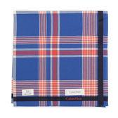 Calvin Klein 交錯條紋紳士純棉帕巾(寶藍/紅)989091-255