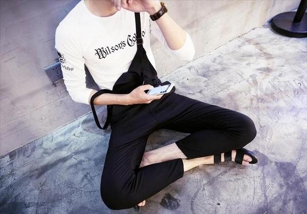 【找到自己】韓國 合身吊帶褲 吊帶褲 男 平價服飾 男裝 亞森 搖滾 西岸 暗黑 窄版 小腳