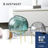 輕奢玻璃花瓶透明圓形水培插花瓶家用客廳餐桌干花裝飾品擺件創意
