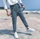 找到自己品牌 時尚潮流 男 條紋 格子 休閒褲 九分褲 小西褲 4 色入 吊帶褲 寬褲