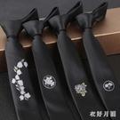 韓版日系英倫風窄版個性時尚刺繡花新郎領帶...