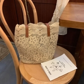 蕾絲包包女2019新款春夏小清新單肩包手提包女士大容量水桶購物袋