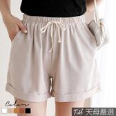 【天母嚴選】抽繩綁帶休閒反摺短褲(共五色)