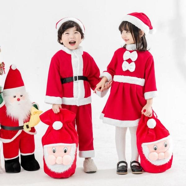 圣誕節兒童服裝演出服男女童圣誕裝扮圣誕老人套裝幼兒園圣誕衣服快速出貨