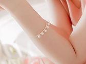 明星同款 弧形珍珠手鏈金色銀色~~BeautyBox ~O1603S1036