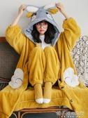 珊瑚絨睡衣女秋冬加厚加絨中長款睡袍可愛冬季可外穿法蘭絨家居服YXS 韓小姐