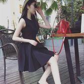 無袖連衣裙 春秋赫本修身蓬蓬小黑裙無袖連衣裙女收腰顯瘦長袖打底裙 巴黎時尚