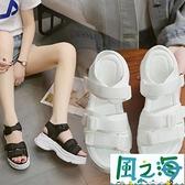 運動涼鞋女夏白色百搭高跟學生厚底厚底楔形平底鞋【風之海】