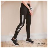 Catworld MIT 吸濕排汗雙直條抽繩運動褲【12001576】‧S/M