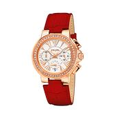 【Folli Follie】Watchalicious羅馬晶鑽時尚計時腕錶-亮眼紅/WF13B001SES_RE/台灣總代理原廠公司貨兩年保固