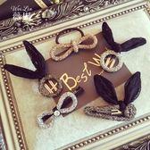 蕾絲兔耳朵蝴蝶結女發夾韓國頭飾飾品兔子夾子發飾劉海夾邊夾發卡 居享優品