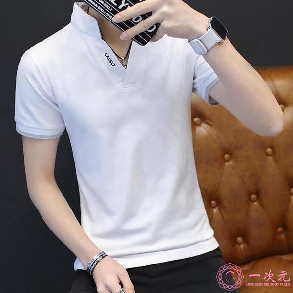 夏季純色T恤男短袖襯衫領體恤全棉潮流男裝新款pool衫休閒成熟?