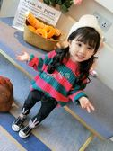 女童毛衣 女童2018秋裝新款春秋韓版毛衣女寶寶套頭寬鬆針織條紋童裝洋氣潮 珍妮寶貝