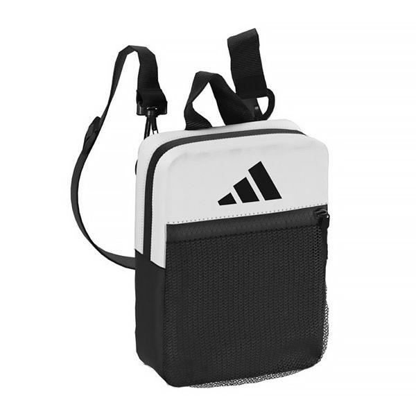 ADIDAS 灰白 黑 網布 側背 小包 (布魯克林) DQ1074