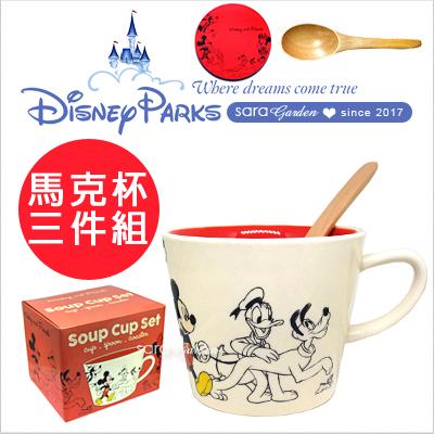 正版 迪士尼 馬克杯 米奇好朋友 三件組 陶瓷 咖啡杯 杯子 杯墊 攪拌杯 湯匙 Disney