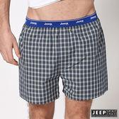 【JEEP】五片式剪裁 純棉平口褲 (灰白格紋)