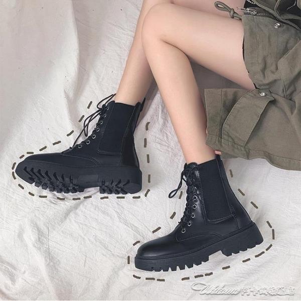 顯腳小馬丁靴女潮ins年新款秋季冬加絨英倫風網紅瘦瘦短靴子(速度出貨)
