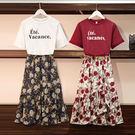 【GZ83】大碼女裝胖mm夏裝洋氣字母短袖t恤+碎花雪紡半身裙網紅兩件套