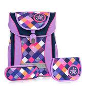 TigerFamily學院風超輕量護脊書包+文具袋+鉛筆盒--優雅紫 【黃嘉千 夏天真心推薦】