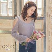 東京著衣【YOCO】輕熟美學露肩綁帶針織上衣-S.M.L(181368)