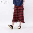 a la sha 套圈圈格紋造型寬褲裙