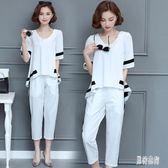 大尺碼短袖套裝 女夏季新款韓版V領胖MM時尚休閒氣質兩件套洋氣 EY6659 『男神港灣』