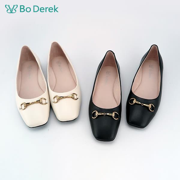 【Bo Derek 】馬銜扣素面平底鞋-黑
