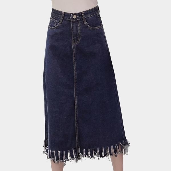 牛仔裙--波希米亞風個性鈕扣裙襬破破抽鬚口袋經典素面牛仔長裙(藍L-5L)-Q79眼圈熊中大尺碼
