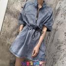 牛仔洋裝 短袖洋裝超火的牛仔連身裙女a字收腰顯瘦收縮韓版小個子連體裙子夏季新款 寶貝計畫