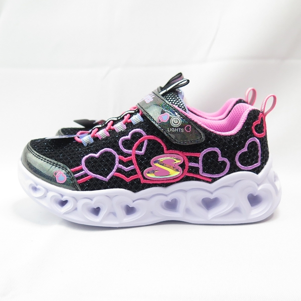 Skechers S LIGHT-HEART LIGHTS 中童鞋 302080LBKMT 黑【iSport愛運動】
