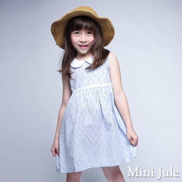 Mini Jule 女童 洋裝 刺繡花草蕾絲裝飾小圓領無袖洋裝(藍)