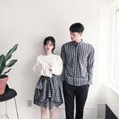 情侶裝 新款韓版情侶裝休閑格子襯衣短裙長袖襯衫夏季