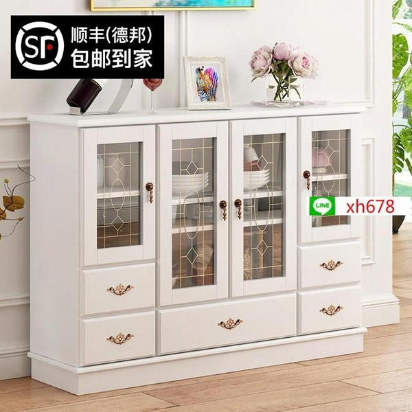 蔓斯菲爾餐邊櫃簡易實木碗櫃櫥櫃儲物櫃子客廳茶水櫃收納櫃免安裝【頁面價格是訂金價格】