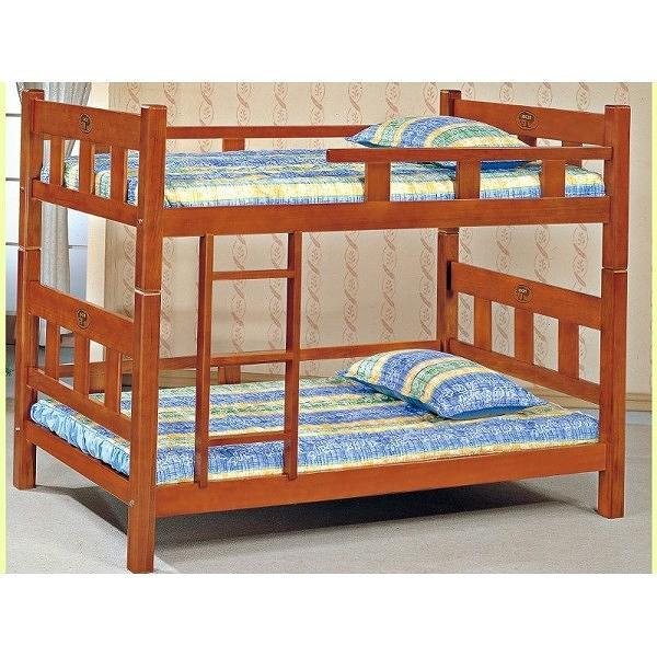 雙層床 AM-361-2 3.5尺實木柚木色方柱雙層床(不含床墊) 【大眾家居舘】