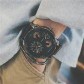 手錶吃雞同款快手紅人歐美潮流雙機芯大錶盤日歷學生復古皮帶男錶
